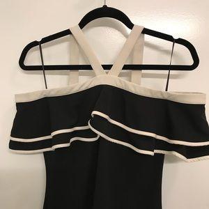 AQUA Black Off-the-Shoulder Ruffle. Halter Dress
